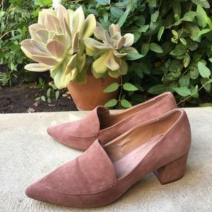 Halogen Pink Suede Point Toe Heeled Loafers Size 9